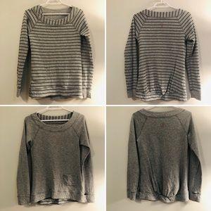 Lululemon Ivivva Gray White Striped Reversible Top